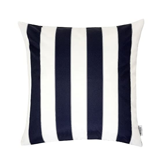 Homey Cozy Outdoor Throw Pillow Cover, Classic Stripe Navy Blue Large Pillow Sham Water/UV Fade/Stain-Resistance for Patio Lawn Couch Sofa Lounge 20x20, Cover Only - Classic Stripe Outdoor Pillow | Crafted from polyester and showcasing a classic stripe motif, Add it to the living room seating group to complement a contemporary ensemble or use it to accent your favorite patio sofa in eye-catching style. Weather Resistant | Add some color to your patio set with these water resistant outdoor pillows. Made out of 100% Solarium Polyester fabric, it is mold and mildew resistant as well as fade and stain resistant. Skin Friendly | Even with the protective coating, the outdoor pillow covers still feel nice and soft to make for incredibly cozy lounging out on the patio or indoors. - patio, outdoor-throw-pillows, outdoor-decor - 41tKz3kP7oL. SS570  -