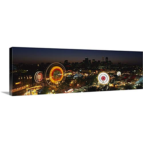 GREATBIGCANVAS Gallery-Wrapped Canvas Entitled Aerial View of Ferris Wheels lit up at Night, Calgary Stampede, Calgary, Alberta, Canada by 60