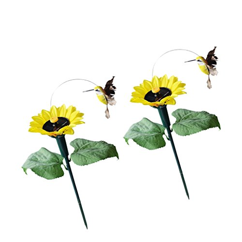 Baoblaze 2x Fluttering Birds with Sunflower Stakes Solar or Battery Powered Garden Stake True to Nature Birds Flower Plant Pot Decor For Sale