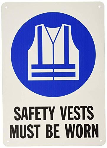 (Unoopler Safety Sign, Legend Safety Vests Must Be Worn, Black/Blue on White )
