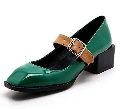Le Eleganti Cinturini Con Fibbia Con Cuciture Brevettate Da Donna Easemax Punta Squadrata Scarpe Con Tacco Medio Alto E Tacco Verde