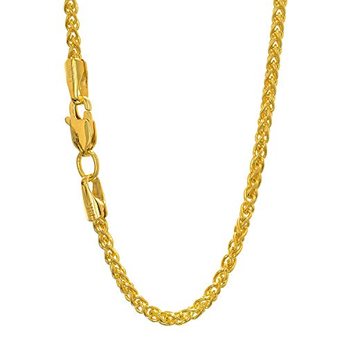 (14k Solid Yellow Gold 2.1 mm Round Spiga Wheat Chain Necklace, Lobster Claw Clasp - 16 Inches, 6.9gr.)