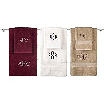 Personalized Monogrammed Decorative Bath Linens for Home, Office, and Gifts, with Decorative Wreath. Hotel Collection 100% USA Made Bath Shower Towel Hand Towel Sets (See Options).