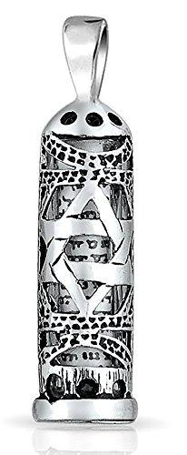Pendant Polished Mezuzah (Sterling Silver Star of David Cut Out Parchment Mezuzah Pendant)