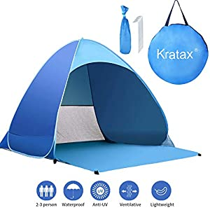 Kratax Pop Up Beach Tent for 1-3 Person,Rated UPF 50+ for UV Sun Protection,Waterproof Sun Shelters for Family Camping…