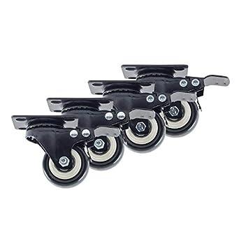 Houseables - 4 ruedas giratorias con bloqueo, 5 cm, negras, resistentes, capacidad