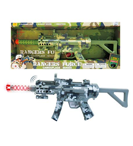 Mozlly Light Up & Sounds Military Combat Force Camouflage Machine Gun, 21.5