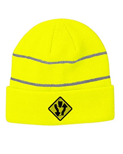 Divided Highway Sign Embroidery Design Acrylic Beanie Reflective Stripes Neon Yellow (Divided Highway Sign)