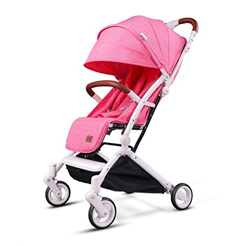 Kids&Koalas Airplane Stroller One Step Design for Opening & Folding, lightweight Baby Stroller ,Portable Travel Pram for Infant Convertible Baby Carriage(Pink)
