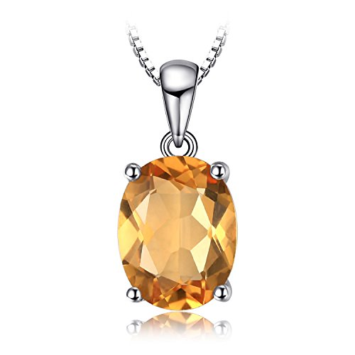 JewelryPalace Gemstones Birthstone Necklace For Women 925 Sterling Silver Solitaire Pendant Necklace For Girls 1.7ct Natural Citrine Necklace Chain Box 18 Inches Oval Cut