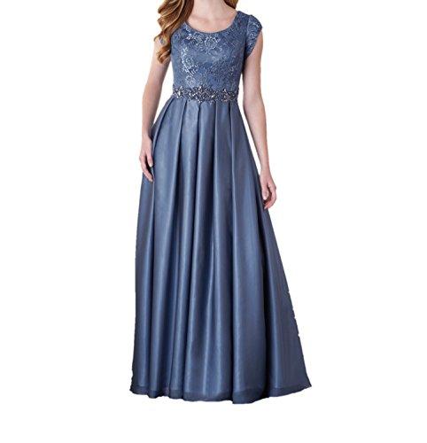 Damen Dunkel Charmant Ballkleider Festlichkleider Abschlussballkleider Blau Langes Spitze mit Abendkleider Partykleider Kurzarm gnq7HT