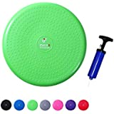 """Inflatable Wobble Cushion with Pump by Day 1 Fitness - 13"""" Green - Durable Exercise Balance Pad to Improve Coordination, Stability, and Core - Balancing Disc Cushions for Home, Gym, School, Rehab"""
