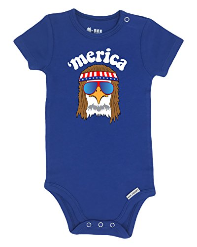 Bee Funny Baby Patriotic 4th Of July Bodysuit | Merica Eagle America