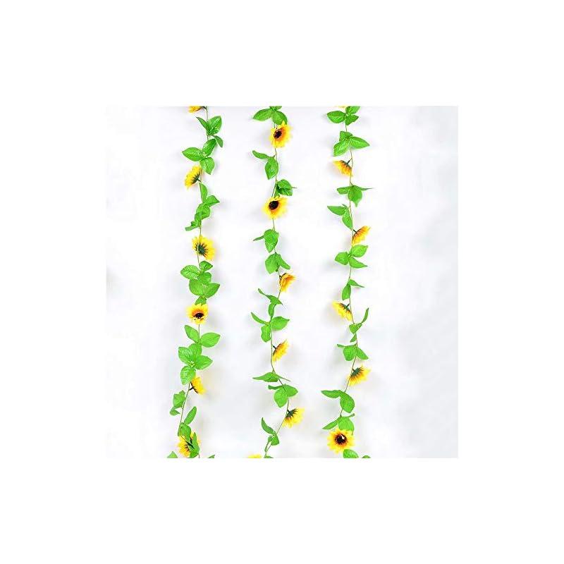 silk flower arrangements mzy llc artificial sunflower garland silk sunflower vine artificial flowers with green leaves home garden wedding decor for home garden party kitchen decor 3 pcs