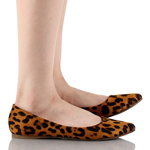 Bella Marie Bellamarie Angie-28 Femmes Classique Pointu Toe Ballet Chaussures Plates Nouveau Léopard