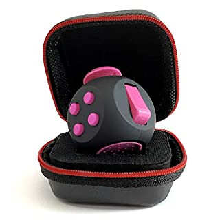 PILPOC theFube Fidget Cube - Premium Quality Fidget Cube Ball with Exclusive Protective Case, Stress Relief Toy (Black & Pink)