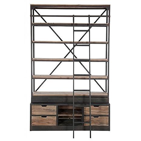 Libreria con scala, 4 mensole, in legno e metallo: Amazon.it: Fai da te