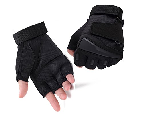 (Campstoor Tactical Half Finger Gloves for Cycling Motorcycle Workout Hiking Camping Powersports Airsoft Paintball (Black, Medium))