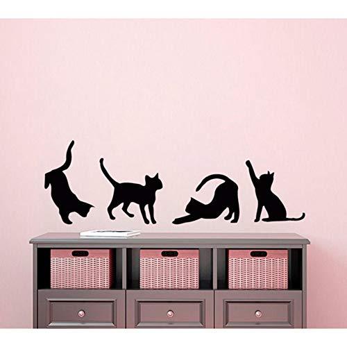 pbldb Four Cats Silhouettes Art Wall Sticker Small