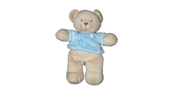 Doudou oso de peluche Beige Pull azul flor 25 cm Tex ...