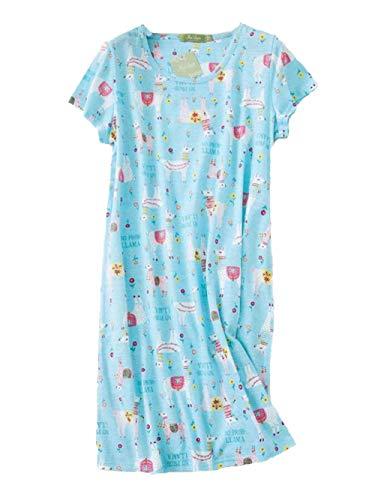 Cotton Nightwear - PNAEONG Amoy madrola Women's Cotton Nightgown Sleepwear Short Sleeves Shirt Casual Print Sleepdress XTSY108-Blue Llama-S