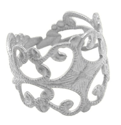 PEPPERLONELY Brand 10PC Silver Tone Brass Adjustable Filigree Ring Blanks (Adjustable Filigree Ring Blanks)