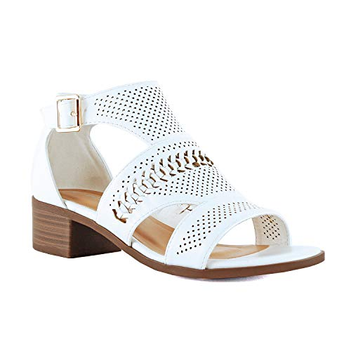 (Guilty Heart Women Comfortable Cut Out Low Block Heel Summer Gladiator Walking Sandal (6.5 M US, Whitev4 Pu))
