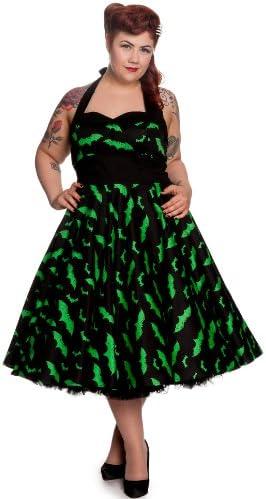 Robe dos-nu années 50 Hell Bunny Rockability chauve-souris produit de marque robe balancée noir vert - XS