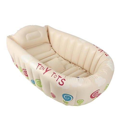 OOFWY Gonflable bébé Baignoire, portable Mini Air Piscine Kid Infant Toddler épais bassin de douche pliable avec coussin souple Siège central