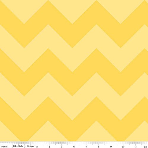 1 Yard Large Chevron Tone on Tone by Riley Blake 100% Cotton Quilt Fabric C390-51 Yellow