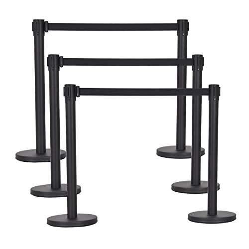 Goplus 6Pcs Stanchion Set W/ Retractable Belt Posts Queue Pole Crowd Control Barrier (Black) (Crowd Control)