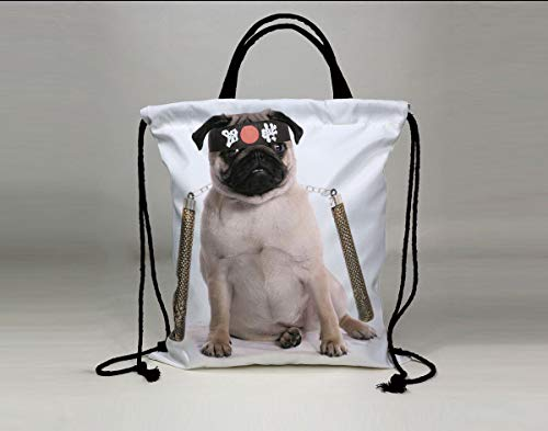 3D Print Drawstring Bag String Backpack,Pug,Ninja Puppy with Nunchuk Karate Dog Eastern Warrior Inspired Costume Pug Image Decorative,Cream Black Gold,for Travel Gym School Beach -