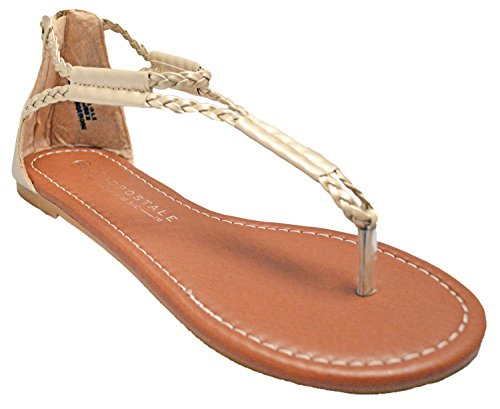 Charles Albert Womens Crossing Over Braided Strap Thong Flat Sandals (10, Gold) ()
