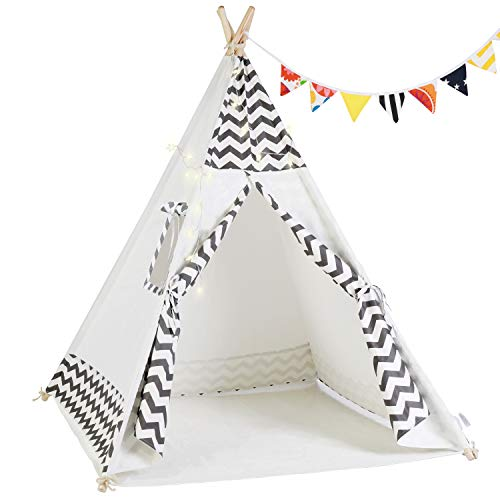 OlarHike Teepee Play Tent for Kids,Girl and Boy, Durable Baby Toddler Tents with Window, Colorful Lights, Flag, Carpet, Non-Slip Base.