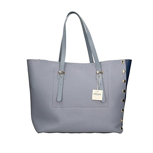 Sac POP main femme in Clair Italy Bleu à 34x31x15 Bleu cuir Cm véritable Bleu Bags Dollar en Made Impression Swrqt5r