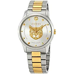 4625b2e528f Gucci G-Timeless Watch 38mm Two Tone Yellow Gold Feline YA1264074