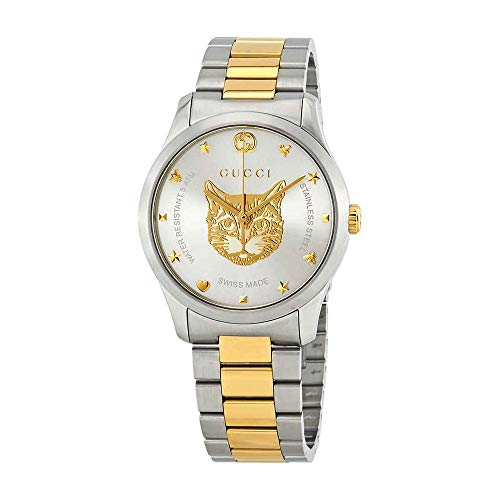 Gucci G-Timeless Watch 38mm Two Tone Yellow Gold Feline YA1264074