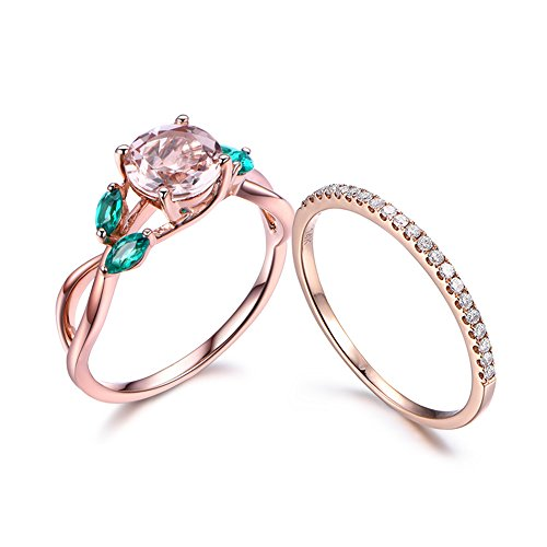 2-bridal-rings-set7mm-round-pink-morganite-green-emerald-accent-flower-retro-ring-pave-diamonds-band