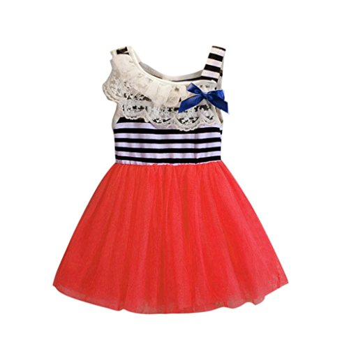 Baby Special Dresses, LOVELYIVA Kids Baby Girls Stripe Summer Sleeveless Clothing Bowknot Princess Party Dress Kids Clothes (1-2T, Watermelon Red) (Indian Summer Stripe)
