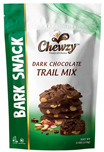 - Chewzy Dark Chocolate Trail Mix Bark Snack - 100% Kosher Certified, Guaranteed Rich, Fresh and Delicious, A Perfect Tasty Sweet Treat - 6 ounce pouch bags