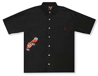 Bamboo cay king of the road black hawaiian shirt at for Bamboo button down shirts