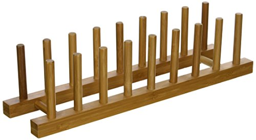 (Lipper International 887 Bamboo Wood Plate Rack and Pot Lid Holder, 15-1/4