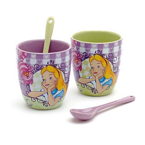 Disney Disneyland Paris Bistro Collection Set With 2 Cups Alice In Wonderland Mug Cup