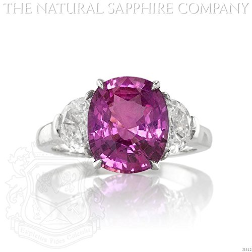 4.53ct Natural Cushion Cut Pink Sapphire Platinum Ring with .93cts of Diamonds (J3312)