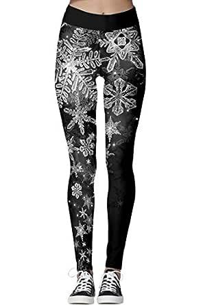Zyyfly Snowflake Leggings for Women Printe Soft YogaRunning Ugly Christmas Leggings Black S