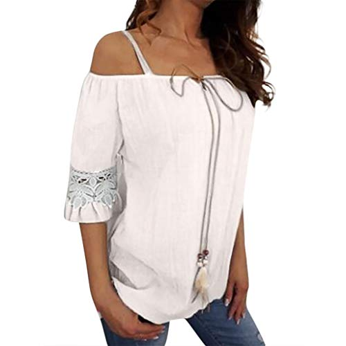 Women Lace Pure Casual Color Plus Short Sleeve Summer Comfy Size Off Shoulder Fashion Holiday Blouse Sexy Easy Top Shirt White -
