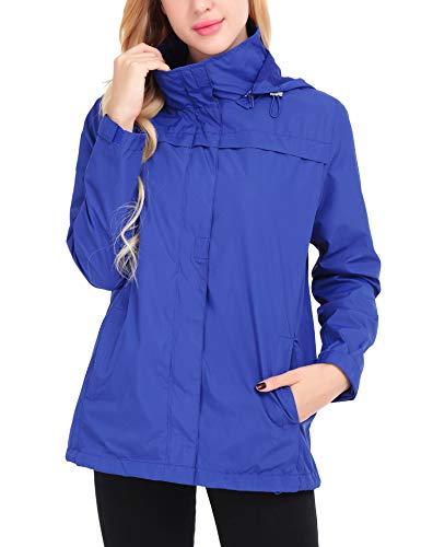 Uniboutique Womens Rain Coat Waterproof Lightweight Windbreaker Outdoor Hooded Rain Jacket