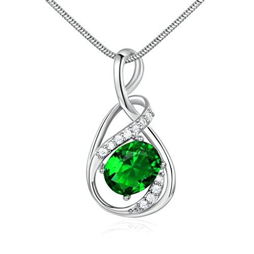 GUICX White Gold Tone Emerald Color Green CZ Cubic Zirconia Charm Necklaces Pendant