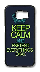 Brian114 Case, S6 Case, Samsung Galaxy S6 Case Cover, F Keep Calm And Pretend Everythings Okay Retro Protective Hard PC Back Case for S6 ( Black )