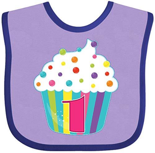 Inktastic - 1st Birthday Cupcake Baby Bib Lavender and Purple 285a2